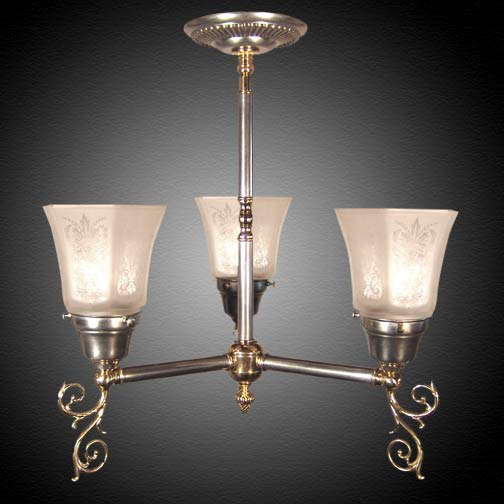 Model NSH9 English Country Federal Electric Short Ceiling lighting fixture in mixed metals.